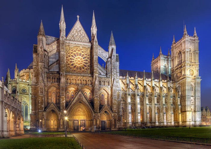 "The Collegiate Church of St Peter at Westminster, London - ""Westminster Abbey"" at night."